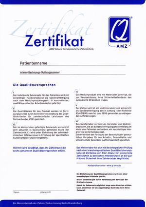 Zertifizierung - CK-Dental - Zahntechnik Meisterbetrieb Berlin
